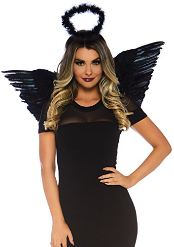 Leg Avenue 2 Piece Angel Costume Accessory Kit, Black, One Size -