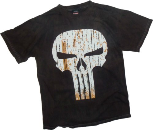 Marvel Straw Face Symbol - The Punisher River-Wash T-Shirt, X-Large