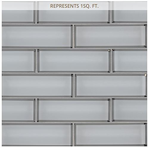 Ice Bevel Subway 11.73 in. x 11.73 in. x 8 mm Glass Mesh-Mounted Mosaic Tile (2