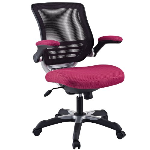 Modway Edge Mesh Back and Red Mesh Seat Office Chair With Flip-Up Arms - Ergonomic Desk And Computer Chair by Modway