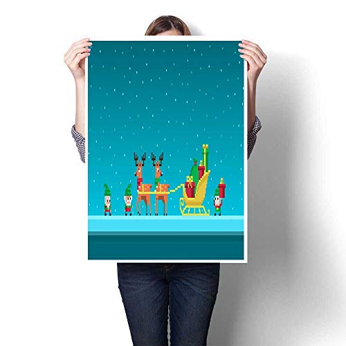 smllmoonDecor Living Room Home Office Decorations Pixel Gnomes Load sledges with Gifts Decorative Fine Art Canvas Print Poster K 16