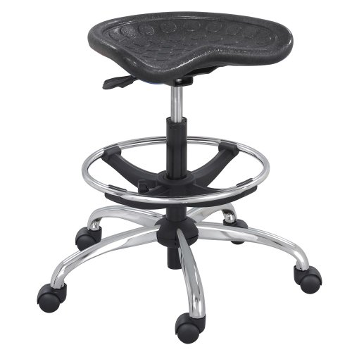 SAFCO PRODUCTS 6660BL Sit-Star Stool with Footring amp; Caster, 27 -36h Seat, Black/Chrome 36h Seat