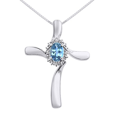 "Diamond & Blue Topaz Cross Pendant Necklace Set In Sterling Silver .925 with 18"" Chain"