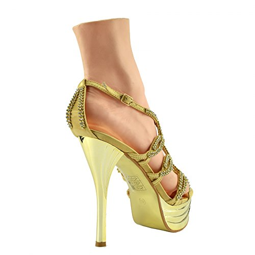 Kick Footwear Damen Stilletto High Heel Rot Open Toe Diamant-Dekor-Partei-Plattform-Schuhe Gold AB191