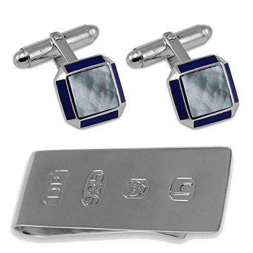 Sterling Silver Cufflinks Sq MOP with Lapis Edge James Bond Money Clip Box (Lapis Set Cufflinks)