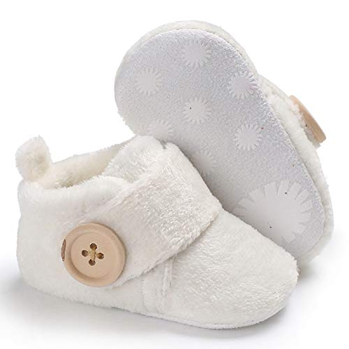 Image of Fnnetiana Infant Baby Plush Slippers Indoor Bedroom Boots Winter Warm Toddler Kids Crib Shoes House Shoes (6-12 Months, White)