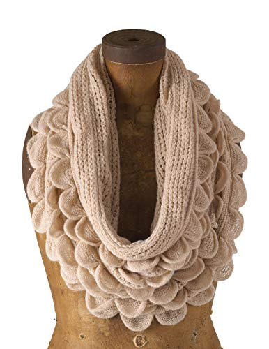 - StylesILove Chic Oversized Ruffle Knitted Infinity Scarf (Oatmeal Cream)