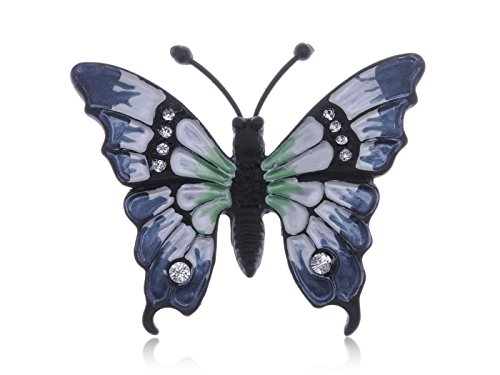 - Alilang Clear Crystal Rhinestone White Blue Enamel Black Butterfly Bug Brooch Pin