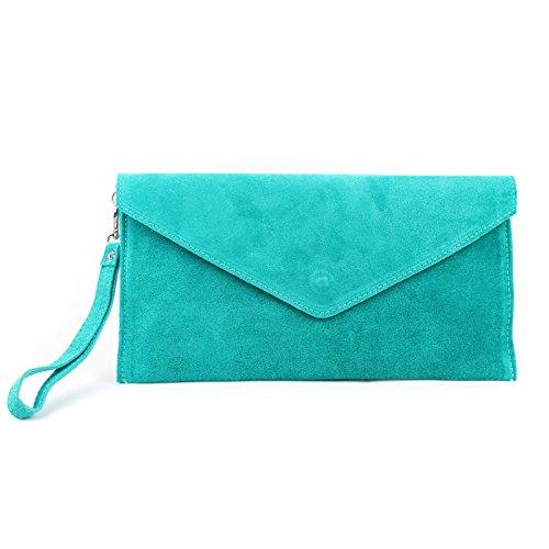 Aossta Italian Suede Large Envelope Shaped Clutch Purse handbag Clutch Party Wedding Bag