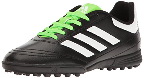 adidas Performance Boys' Goletto VI TF J Soccer Shoe, Black/White/Solar Green, 3 M US Little Kid (Soccer Adidas Green Cleats)