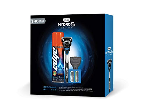 Schick Hydro Sense Razors for Men Gift Set with 1 Hydro Sense Hydrate Razor, 1 Hydro Sense Hydrate Disposable Razor, 3 Hydro Sense Hydrate Refills, 1-6oz and 2oz Hydro Sense Hydrate Shave Cream