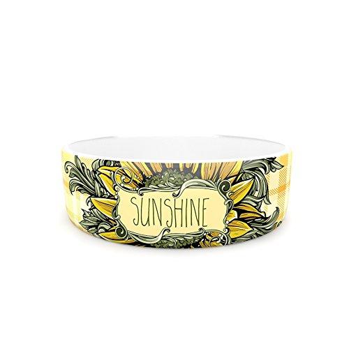 4.75\ Kess InHouse Nick Atkinson Sunflower Sunshine  Yellow gold Pet Bowl, 4.75