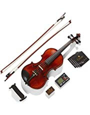 Mendini 1/2 MV500 Ebony Fitted Flamed Solid Wood Violin with Hard Case, Shoulder Rest, 2-Bows, Rosin, Extra Bridge and Strings