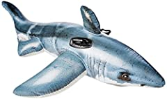 57525EP Features: -The coolest shark ever, this Intex Great White Shark Ride-On will be the hit of every pool party with its realistic design!. -Includes heavy-duty grab handles repair patch. -Designed with heavy-duty grab handles. -Age grade...
