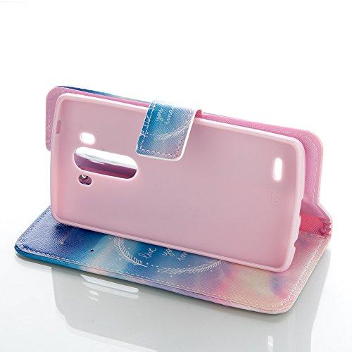 Handyhülle LG G3,BtDuck Kreativ Buntes Muster Tasche Brieftasche Handyhülle Ledertasche Magnetverschluss Flip Cover Schutzhülle für LG G3 Cover Slim Brieftasche Weihnachtsgeschenke für Frauen Mädchen  LG G3-Schöner Himmel