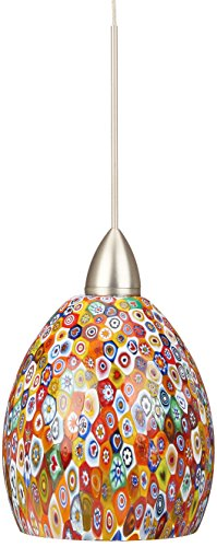 - WAC Lighting QP-LED515-MF/BN Fiore Quick Connect LEDme Pendant with Millefiori Shade and Brushed Nickel Socket Set