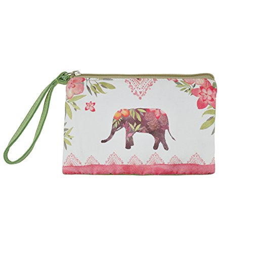 (Rantanto Cute Classic Exquisite Canvas Cash Coin Purse, Make Up Bag, Cellphone bag With Handle (BG0003 Lucky Elephant) )