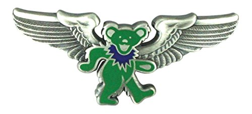 Grateful Dead® Rockwings Green Dancing Bear Pilot Pin for Sky-high Hippies and Deadheads