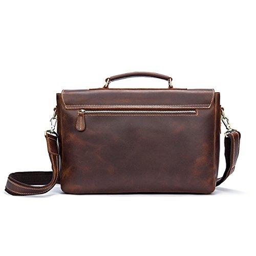 Briefcase Bag Shoulder Fashion Messenger Retro Men's Leather Brown AqYST