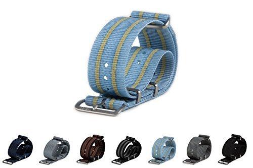 Treveo ACCESSORY メンズ 22mm Brushed Hardware|Baby Blue/Yellow Baby Blue/Yellow 22mm Brushed Hardware B0727S4M2F