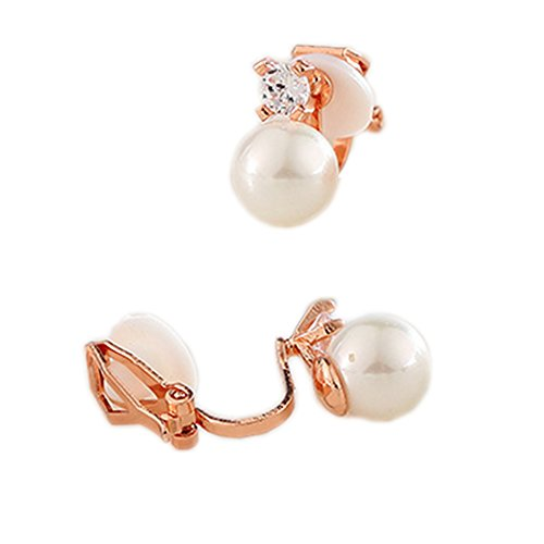 Clip on Earring Back with Pad Faux Pearl Crystal Stud for Girl Kid no Piercing Fashion Rose Gold Plated ()