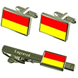 Pretoria City South Africa Flag Cufflinks Engraved Tie Clip Set