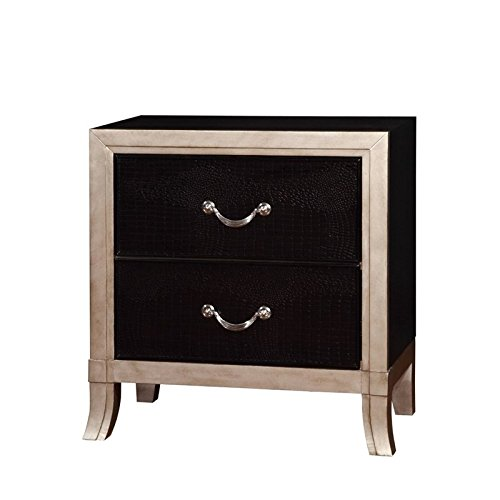 HOMES: Inside + Out ioHOMES Mattix Crocodile Textured Panels 2-Drawer Nightstand, Black/Silver by HOMES: Inside + Out