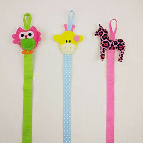 Hixixi 3pcs Baby Girls Cute Animal Ribbon Hair Bow Hair Clip Holder Storage Organizer