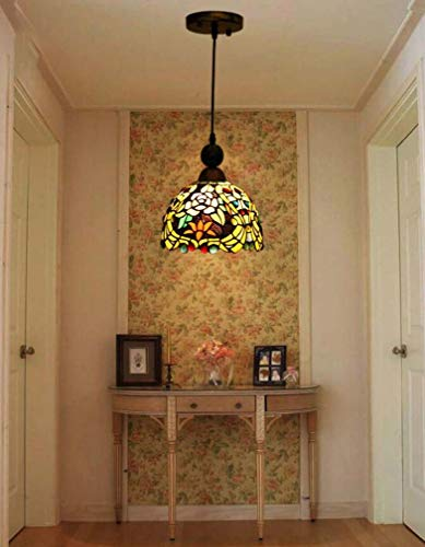 Tiffany Style Mini Pendant Lighting Rose, Stained Glass Shade 1-Light Single Head Decorative Alloy Ceiling Light for Corridor Club Hanging Light, ()