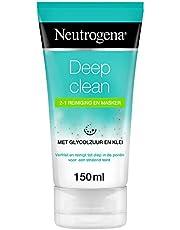 Neutrogena Deep Clean 2-1 reiniging en masker, kleimasker, verfrissende gezichtsreiniging en gezichtsmasker met glycolzuur en klei, geschikt voor alle huidtypen, 1 x 150 ml