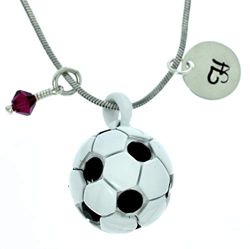Personalized Soccer Ball White Black Pendant Sparkling Crystals Custom Necklace Hand Stamped Initial Letter and Birthstone Charms Chain Gift Jewelry