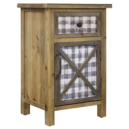 American Art Decor Farmhouse Nightstand Bedside End Table with Cabinet and Drawer