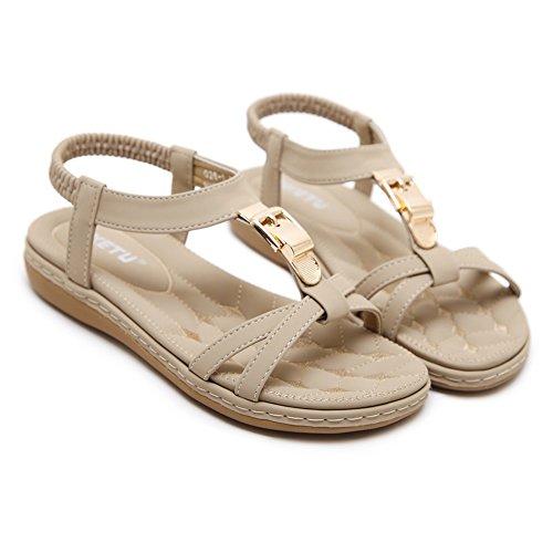 Strap on Beach Slip Flat Beige Shoes Women's Summer Sandals Sandals Beaded Meeshine T Bohemia Rhinestone qP8awWvE
