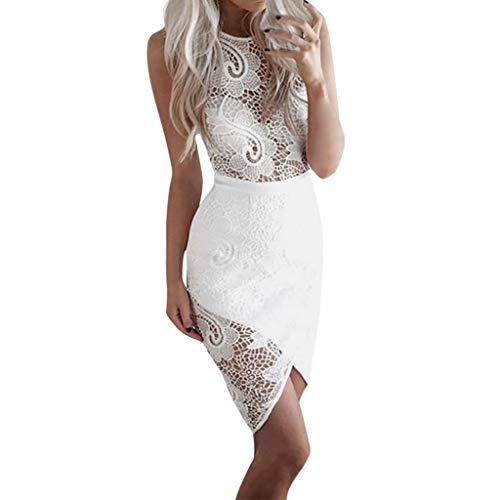Mikilon Women's Floral Lace Sleevless Cocktail Evening Nightout Party Slim Fit Sheath Dress Asymmetrical Midi Bodycon White ()