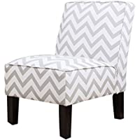 Abbyson Natalia Chevron Linen Slipper Chair, Grey