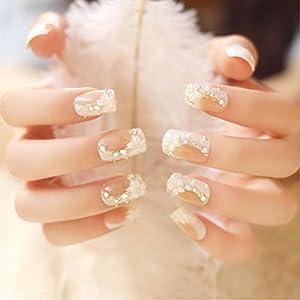24 Pcs Romantic White Camellia Long Artificial False Nails Faux Jewels False Nails Decor 63