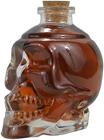 Ducomi Rover – Botella de cristal con forma de calavera para licores, vino, cerveza y alcohol con tapón de corcho – Idea regalo de Navidad original para hombre y mujer