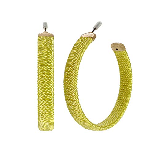 Rosemarie Collections Women's Hypoallergenic Sunshine Yellow Thread Wrapped Hoop - Earrings Rope Hoop Wrapped