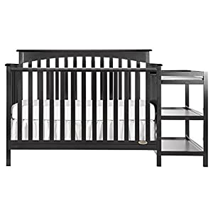 Dream On Me Chloe 5-in-1 Convertible Crib and Changer, Black