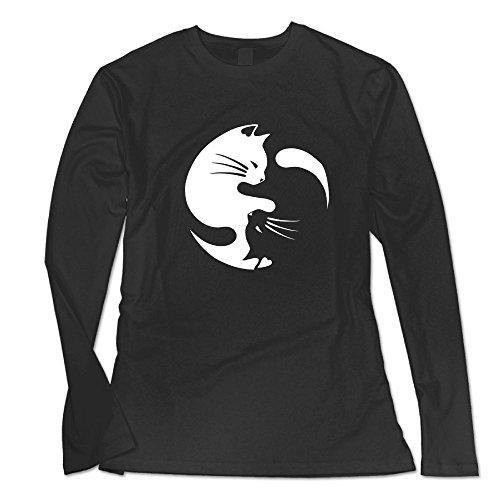 DHilary Cat Ying Yang Custom Women's Blank Long Sleeve Custom Cotton T Shirts Top Black L (T-shirt Blanket Custom)