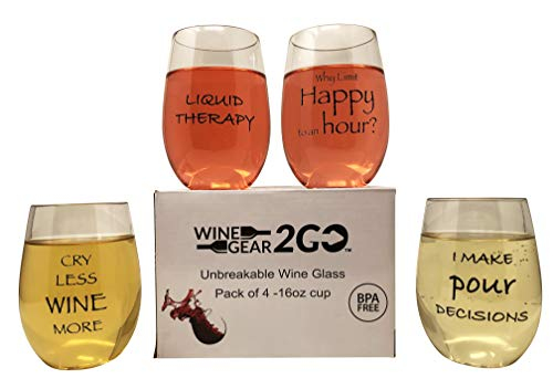 4 Wine Glasses Unbreakable Plastic in Great Gift Box Funny and Durable Shatterproof Stemless Wine Beer Whiskey Cocktail any Beverage Outdoor Party Pool Camping Beach Take Anywhere 16oz (B)