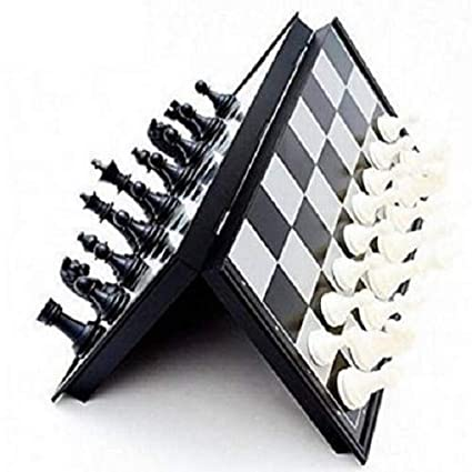 Agami Magnetic Black & White Premium Quality Folding Chess Board Game