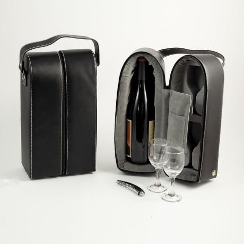 Black Leather Wine Carrier Caddy Bag w/ Two Glasses,Stopper/Opener -Nice Bar Set by Simple Luxuries (Image #1)