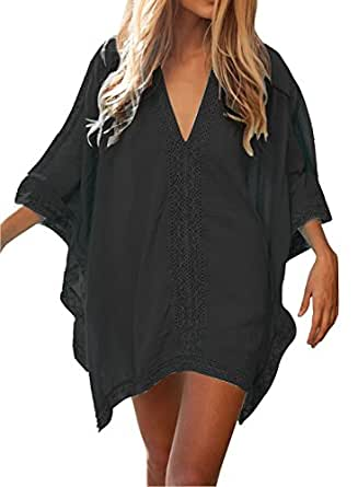 HIMONE Women's Solid Oversized Beach Cover Up, Black, One Size