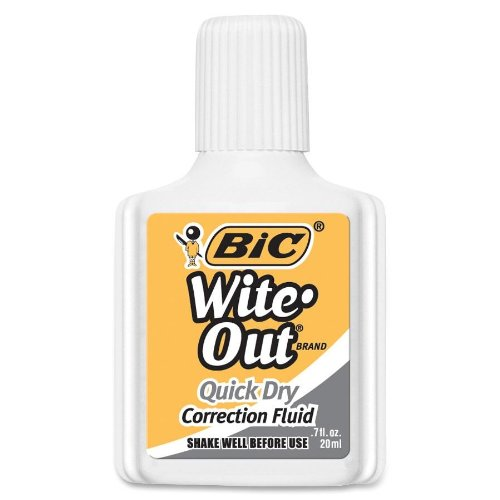 BIC Wite-Out Brand Quick Dry Correction Fluid, 20 ml, White, (Quick Dry Correction Fluid)