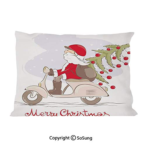 Christmas Bed Pillow Case/Shams Set of 2,Vintage Print Santa on Motor Bike with Red Helmet Tree Decorations in Snow King Size Without Insert (2 Pack Pillowcase 36