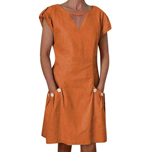 ✔ Hypothesis_X ☎ Women's Short Sleeve Button Mini Dresses Linen V Neck Mini Dress Evening Party Dress with Pocket Orange ()