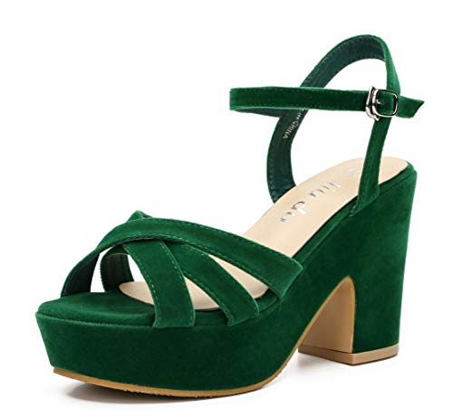 - Womens Open Toe Platform Sandals Ankle Strap Chunky High Heels Party Dress Sandal Green Velveteen Size US9 EU41