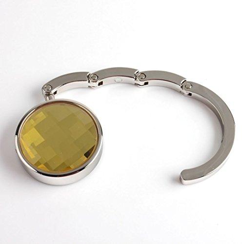 LQZ Fashion Folding Bling Gem Crystal Handbag Purse Hook Hanger - Yellow