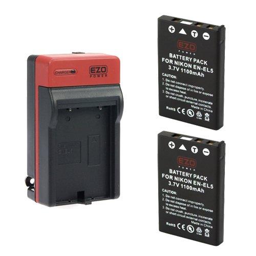 EZOPower 2 x EN-EL5 Battery + Charger Kit for Nikon COOLPIX P520 P510 P500 P100 P90 P80 P6000 P5100 P5000 [Includes Car Adapter, EU Plug, Accessory Bag]